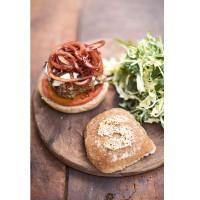 Italian Super-Food Burgers, Balsamic Onions, Mozzarella and Slaw