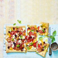 Tomato, Soured Cream and Black Olive Tart