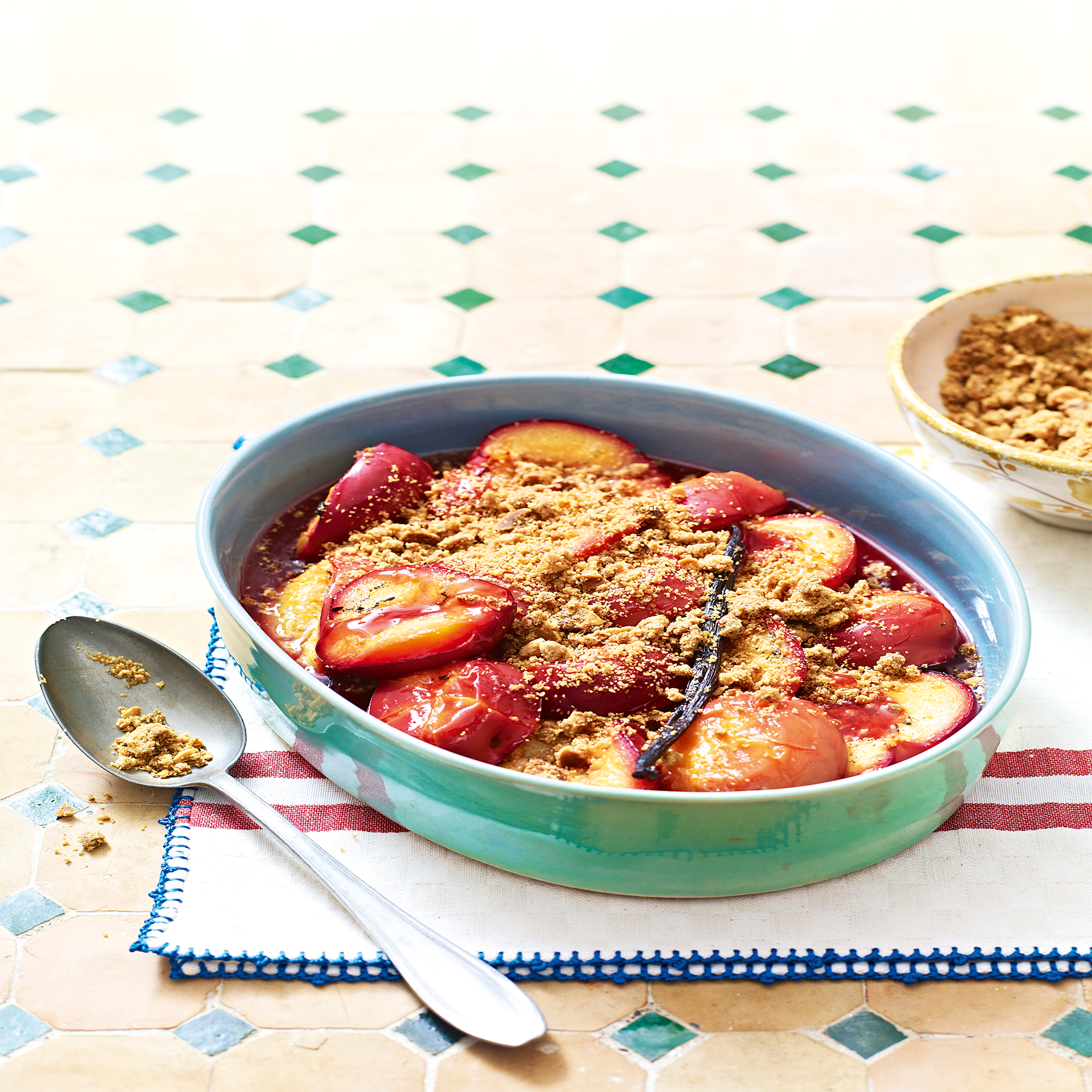 Baked Plums with a Crunchy Crumble Topping Recipe