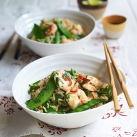 Prawn and Sugar Snap Stir Fry with Fried Rice