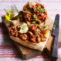 Bruschetta with Baked Borlotti Beans and Roasted Peppers
