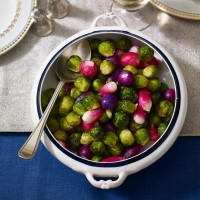 Roasted Sprouts with Chive Butter and Radishes