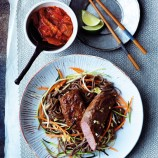 Canon of Lamb with Vegetables, Soba Noodles and Kimchi