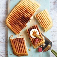FODMAP Griddle Pan Waffle With Orange and Rhubarb Compote
