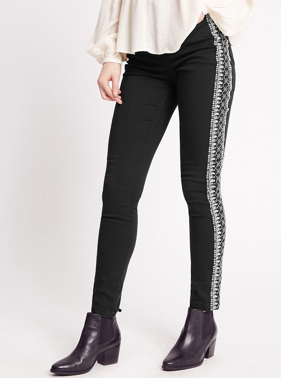 Best high street jeans embroidered mid rise skinny