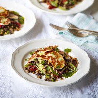 Lentil Salad With Halloumi, Avocado And Roasted Peppers
