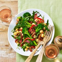Chickpea Salad With Broccoli, Rocket And Crispy Bacon