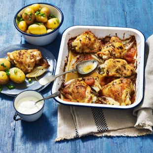 Apricot Chicken Bake with Herby Potatoes Recipe