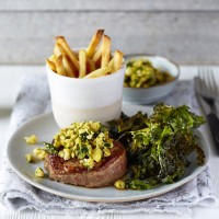 Steak Frites With Green Olive Pesto