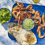 BBQ Prawns With Green Chilli Sauce And Homemade Flatbreads
