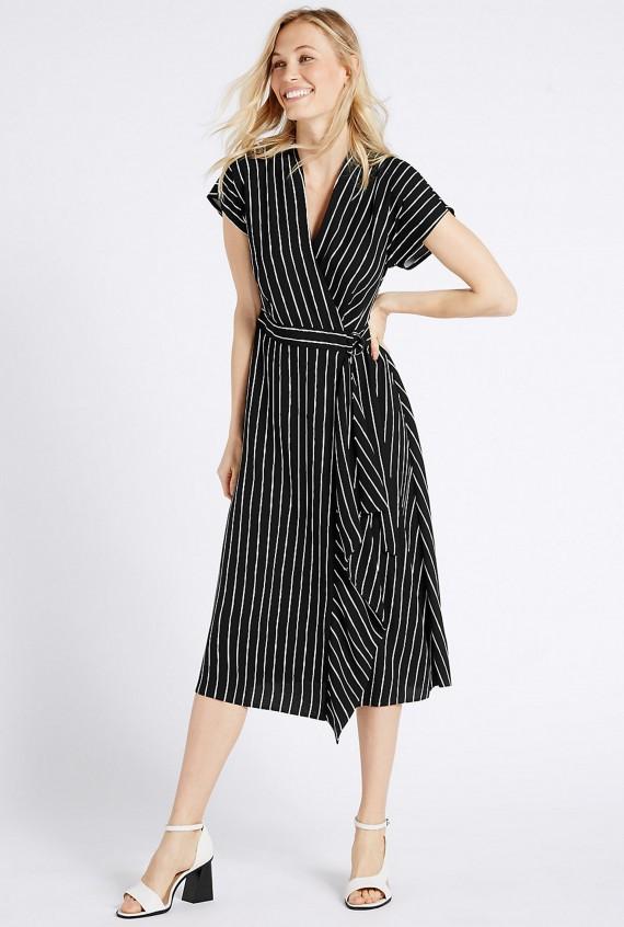 M&S slimming striped midi dress