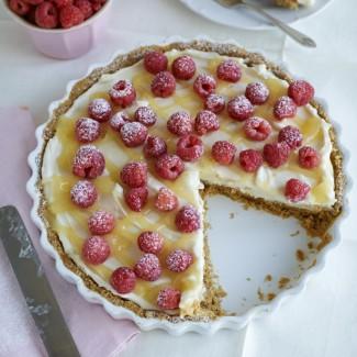 Lemon Cheesecake Tart with Raspberries