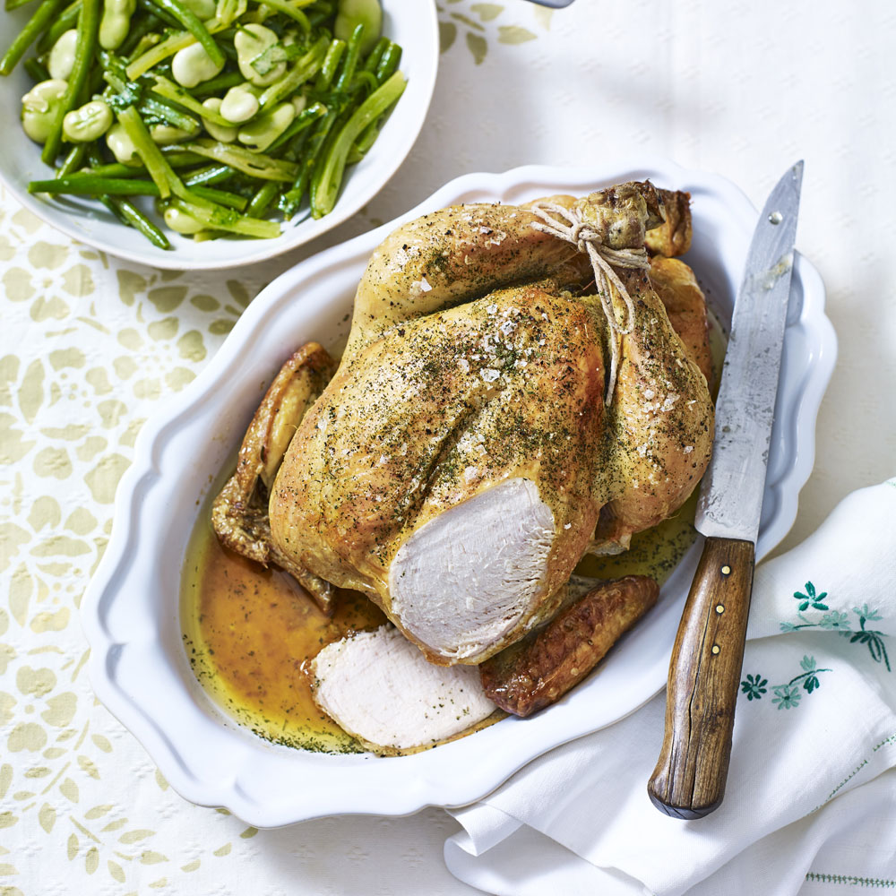 Lemon roasted chicken with herbs woman and home for Roast chicken uk