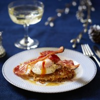 Potato Rosti with Poached Egg and Bacon